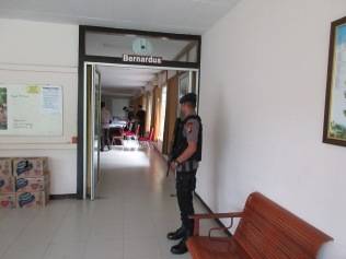 Police guarding the meeting room