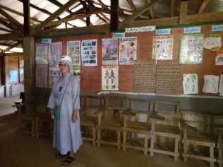 Sr. Minerva at the school project, she has worked had to realize the project
