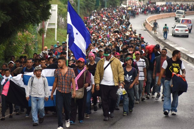 A carivan of migrants to the US